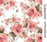 Stock photo seamless pattern watercolor flower bouquets beautiful pattern for decoration and design trendy 340298876