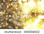 decorated christmas tree on... | Shutterstock . vector #340306022