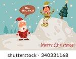 santa and elf in merry... | Shutterstock .eps vector #340331168
