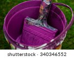 purple paint brush in a messy... | Shutterstock . vector #340346552