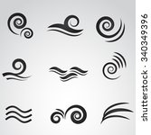 wave icon isolated on white... | Shutterstock . vector #340349396