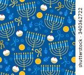 Hanukkah Seamless Pattern With...