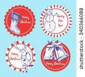 sketch set of christmas labels... | Shutterstock .eps vector #340366088