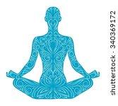 ornamental silhouette of person ... | Shutterstock .eps vector #340369172