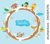 circle tree with houses  animal ... | Shutterstock .eps vector #340369196
