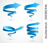 set of blue spiral arrows 3d. | Shutterstock .eps vector #340381946