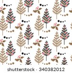 christmas tree  holly leaf ... | Shutterstock .eps vector #340382012