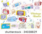 colorful hand drawn vector... | Shutterstock .eps vector #34038829