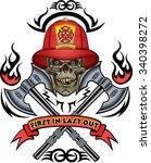 firefighter tattoo | Shutterstock .eps vector #340398272