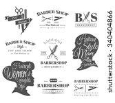 set of retro barber shop labels ... | Shutterstock .eps vector #340404866