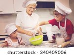 grandmother with grandchildren... | Shutterstock . vector #340409006