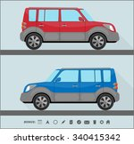 set of two isolated cars in... | Shutterstock .eps vector #340415342