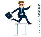 happy businessman jumping... | Shutterstock .eps vector #340415438
