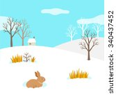 winter landscape with rabbit   Shutterstock .eps vector #340437452