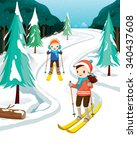 boy and girl skiing  activity ...   Shutterstock .eps vector #340437608