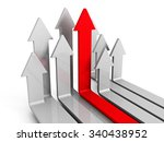 leader red arrow moving forward ...   Shutterstock . vector #340438952