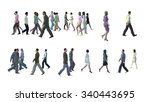 people in motion blur isolated... | Shutterstock . vector #340443695