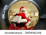 santa claus washes his own... | Shutterstock . vector #340446146