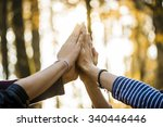 closeup view of four people... | Shutterstock . vector #340446446
