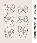 set hand drawn gift bows.vector ... | Shutterstock .eps vector #340449482