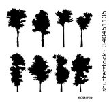 set of tree silhouettes. vector ... | Shutterstock .eps vector #340451135