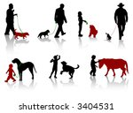 Stock vector silhouette of people with dogs 3404531