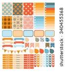 autumn planner sticker set for... | Shutterstock . vector #340455368