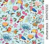 vector vintage seamless pattern ... | Shutterstock .eps vector #340470332