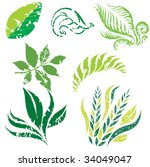 raster set of leafs and plants...   Shutterstock . vector #34049047