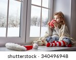 little girl sitting by the... | Shutterstock . vector #340496948