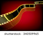 vector film strip 3d  gold  | Shutterstock .eps vector #340509965