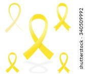 yellow sign ribbon cancer symbol | Shutterstock . vector #340509992