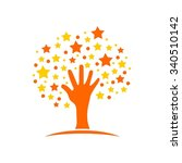 hand stars  dream care reaching | Shutterstock .eps vector #340510142