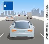 motor vehicles driving on... | Shutterstock .eps vector #340513232
