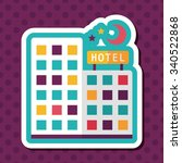 hotel flat icon with long shadow | Shutterstock .eps vector #340522868