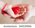 daughter and her father holding ... | Shutterstock . vector #340529846