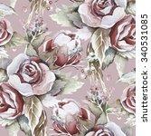 roses seamless pattern | Shutterstock . vector #340531085