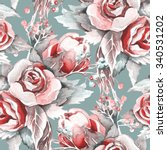 roses seamless pattern | Shutterstock . vector #340531202