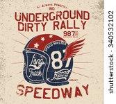 vintage rally helmet tee print... | Shutterstock .eps vector #340532102