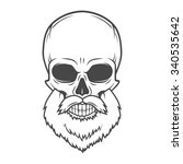 evil bearded jolly roger logo... | Shutterstock .eps vector #340535642