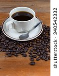 coffee on wooden table | Shutterstock . vector #340542332