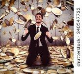 businessman exults under a rain ... | Shutterstock . vector #340547732