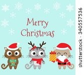 christmas card with cute cats... | Shutterstock .eps vector #340557536