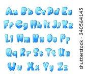 bold abc set for children. blue ... | Shutterstock .eps vector #340564145