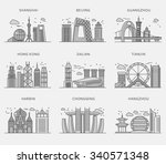 icons chinese major cities flat ...   Shutterstock .eps vector #340571348