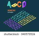 isometric design style alphabet.... | Shutterstock .eps vector #340573526