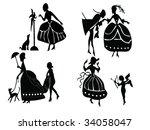 ladies silhouette | Shutterstock .eps vector #34058047