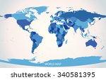 world map illustration vector  | Shutterstock .eps vector #340581395