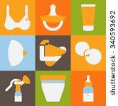 breastfeeding icons set flat
