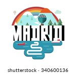 madrid city in spain is a... | Shutterstock .eps vector #340600136
